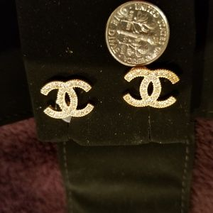 Authentic CHANEL logo earrings